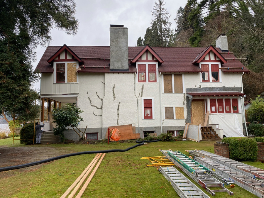 Stucco repairs and patches are complete and most of the restored windows have been re-installed. Paint will not happen until we have warmer drier weather.